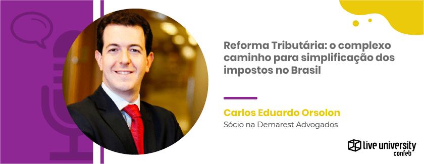 arte gráfica da entrevista sobre Reforma Tributária no Brasil